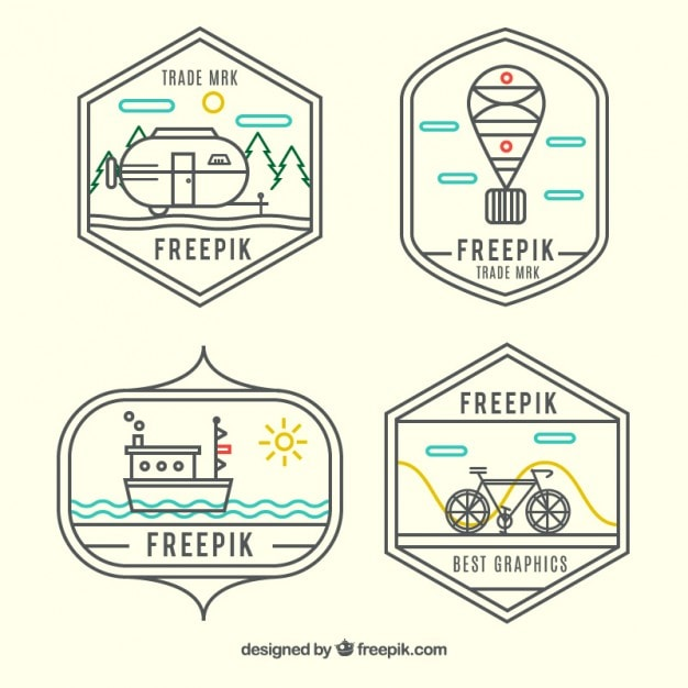 4 Transparent Vector Hipster Logo Templates