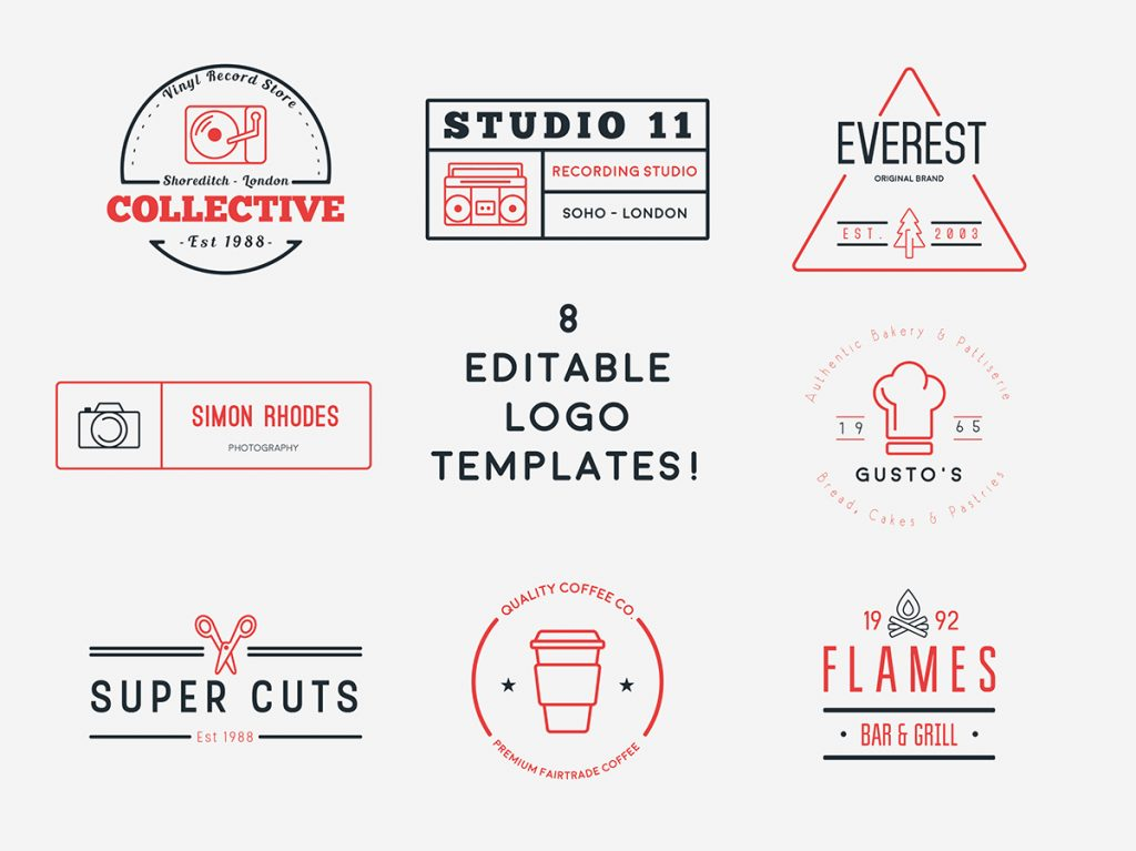 Free Logo Hipster Template & Icon Set