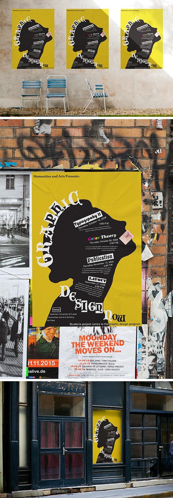 Free 3 Urban Poster MockUps