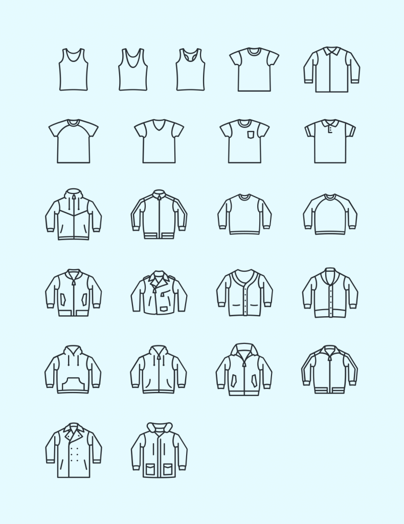 Casual Wear Vector Icon Set