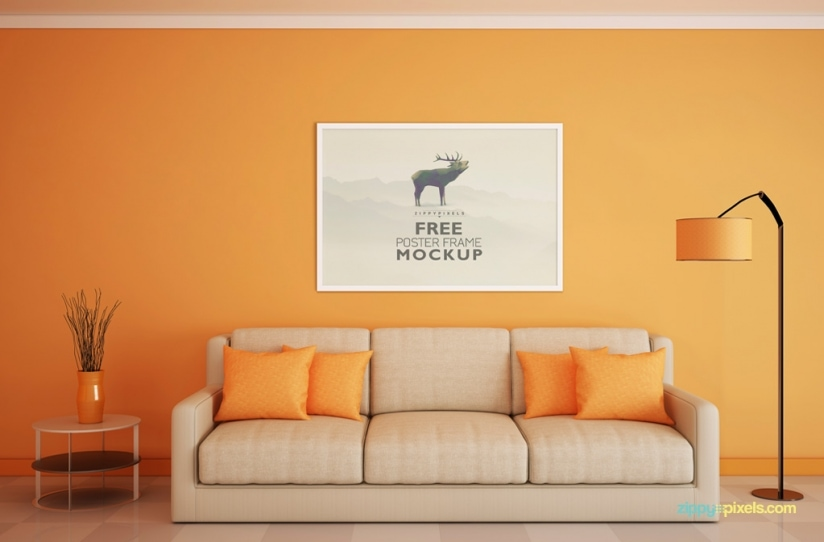 Free Beautiful Poster Frame PSD Mockup