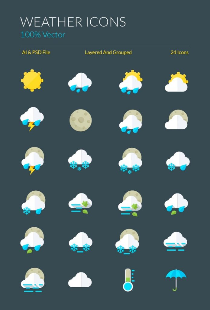 the best 17  free weather vector icon sets