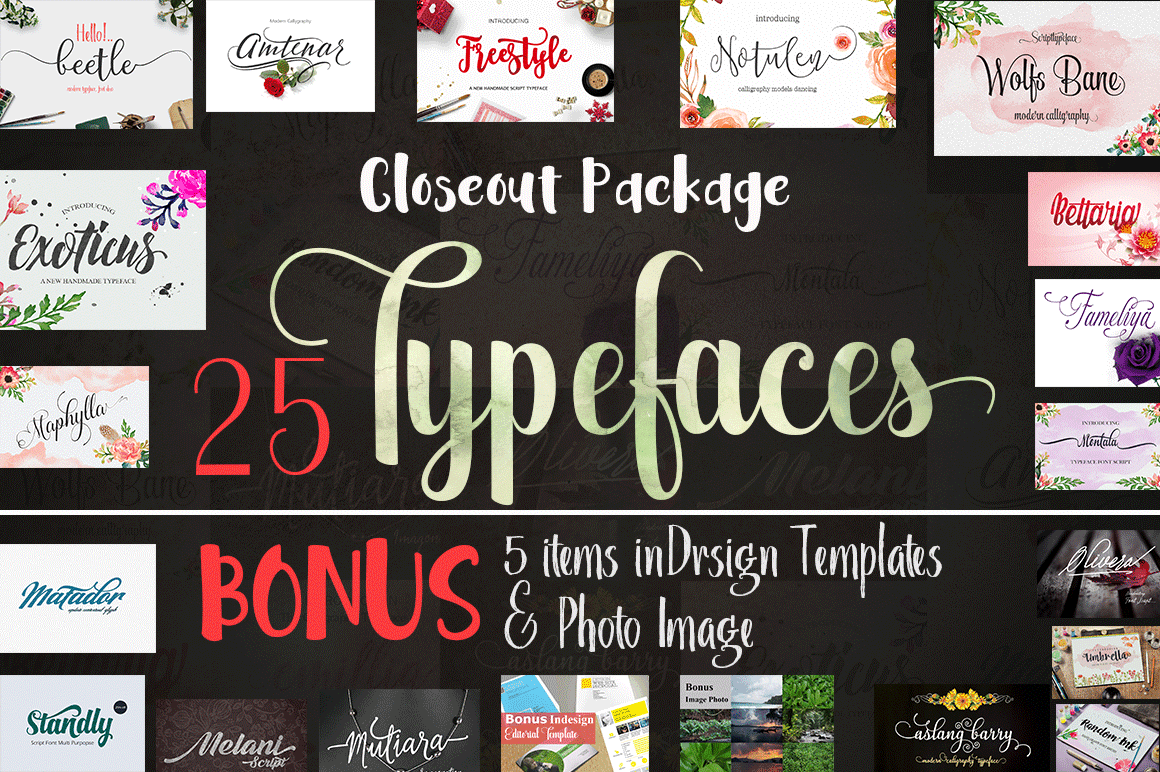 25 Brush and Script Typefaces for $10