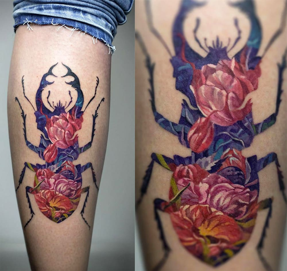 Andrey Lukovnikov - Double Exposure Stag Beetle Tattoo