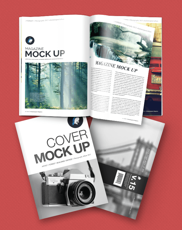 Free PSD Mockup - Magazine + Cover