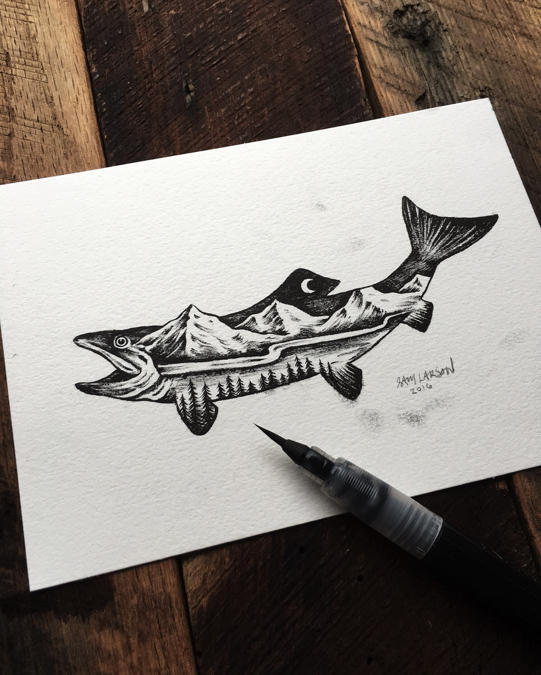 Double Exposure Fish Ink Illustration by Sam Larson