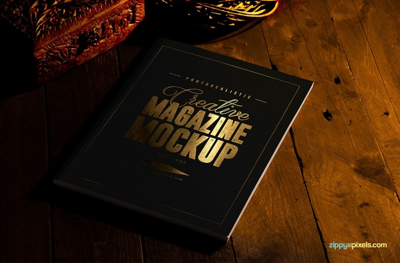 Two Free Magazine Mock-Ups With Gold Foil Effect (US Letter Size)