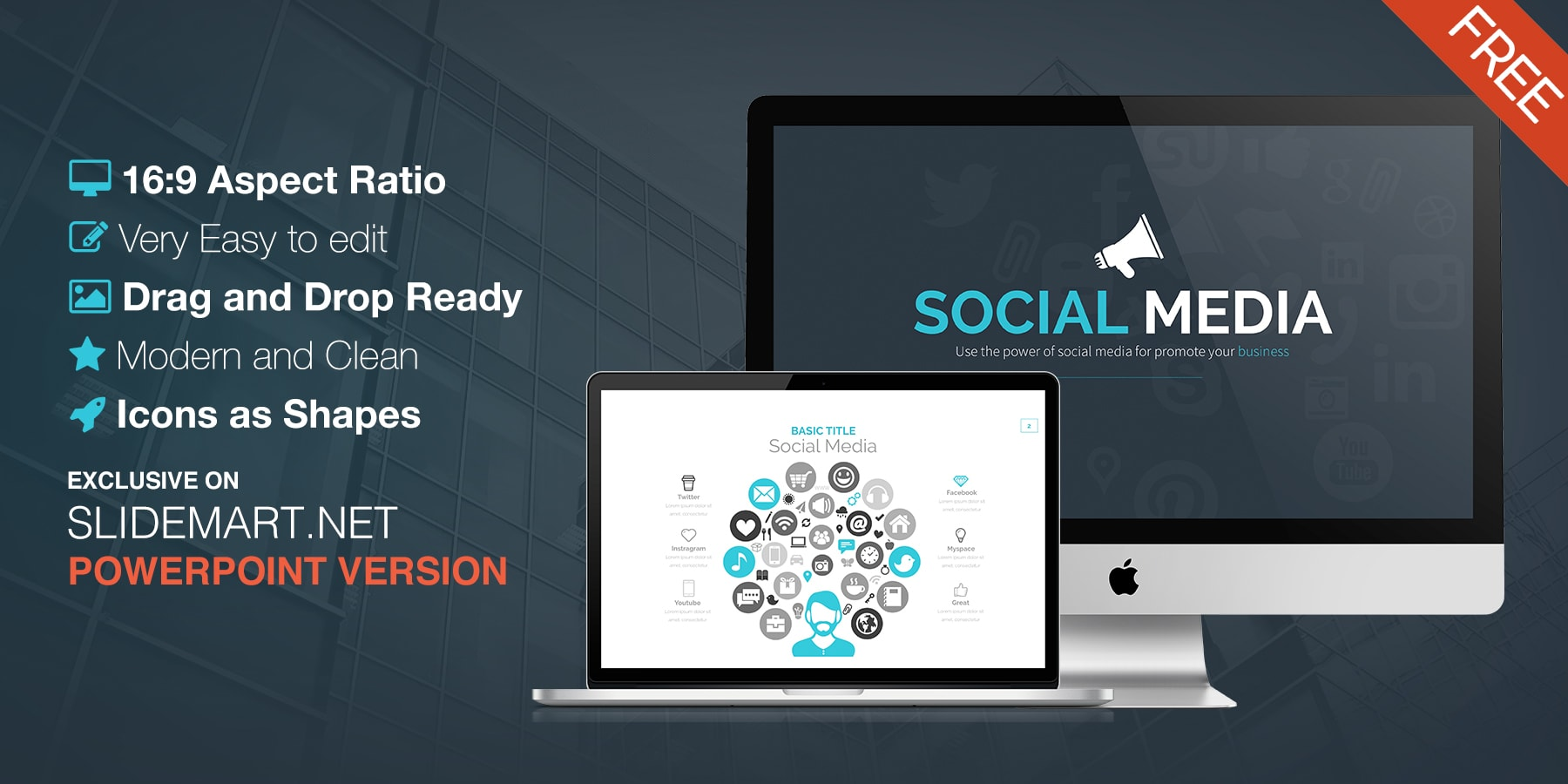 Free Powerpoint Template - Social Media