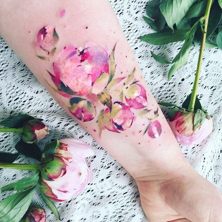 Floral Watercolour Tattoo by Pis Saro