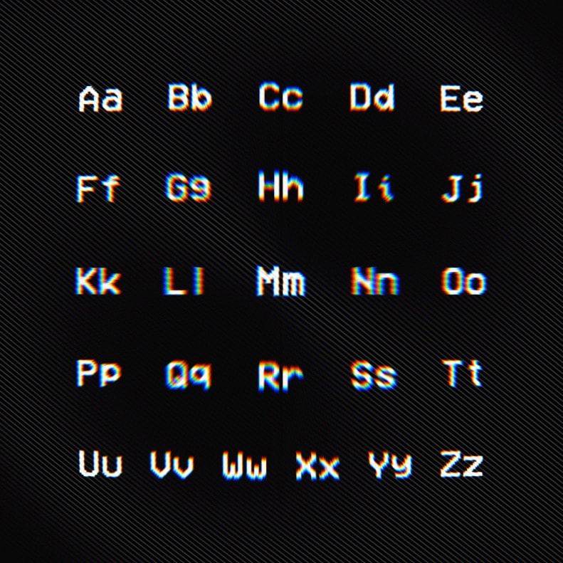 VCR OSD Mono - Free Pixel Font Characters