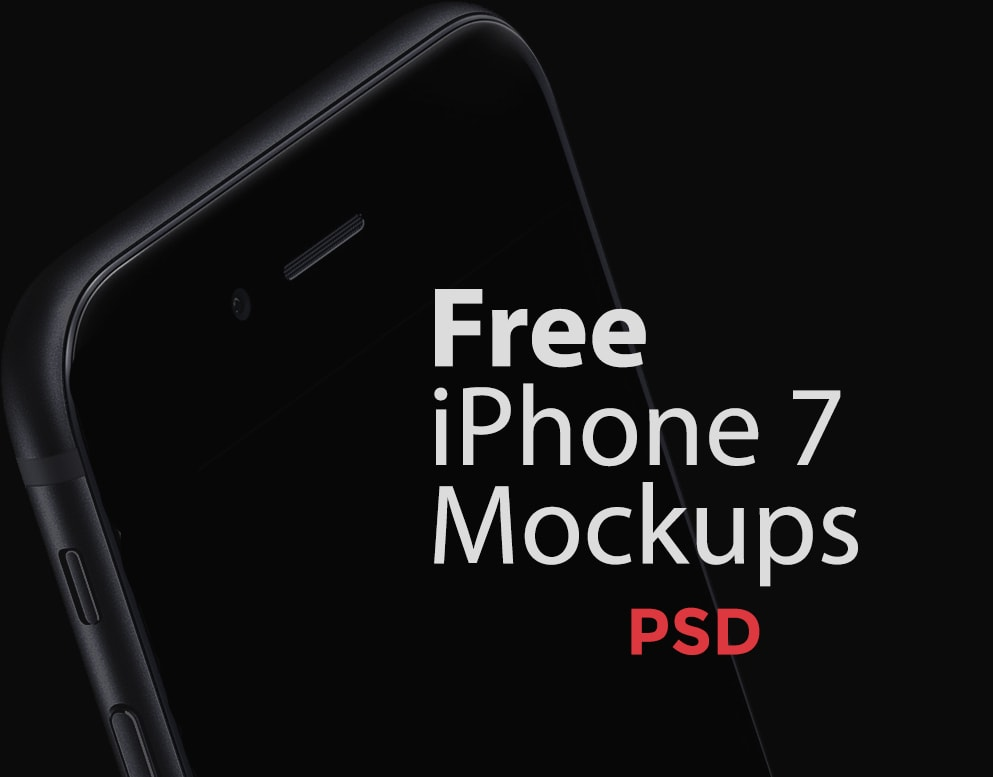Free Black iPhone 7 PSD Mockup