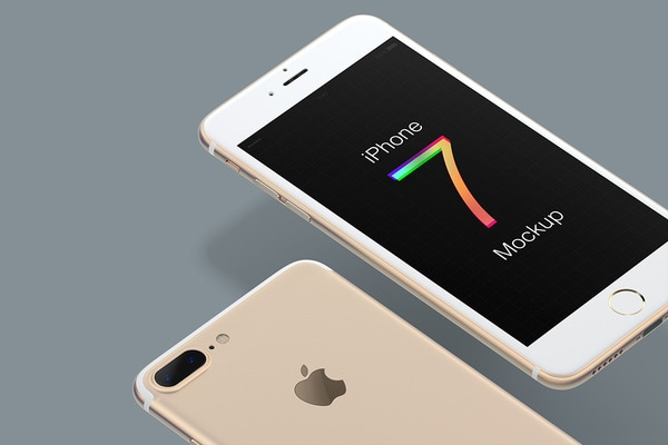 Free iPhone 7 PSD Mockup - Gold