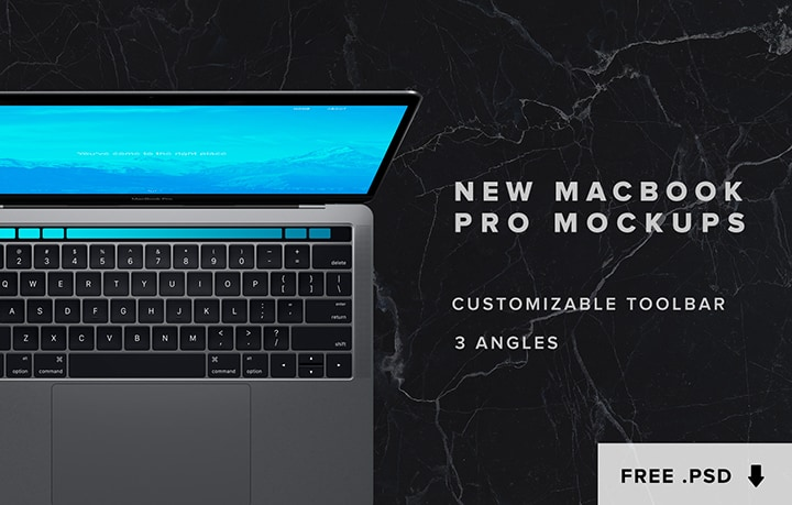 FREE Macbook Pro (2016) Touch Bar Mockup PSD