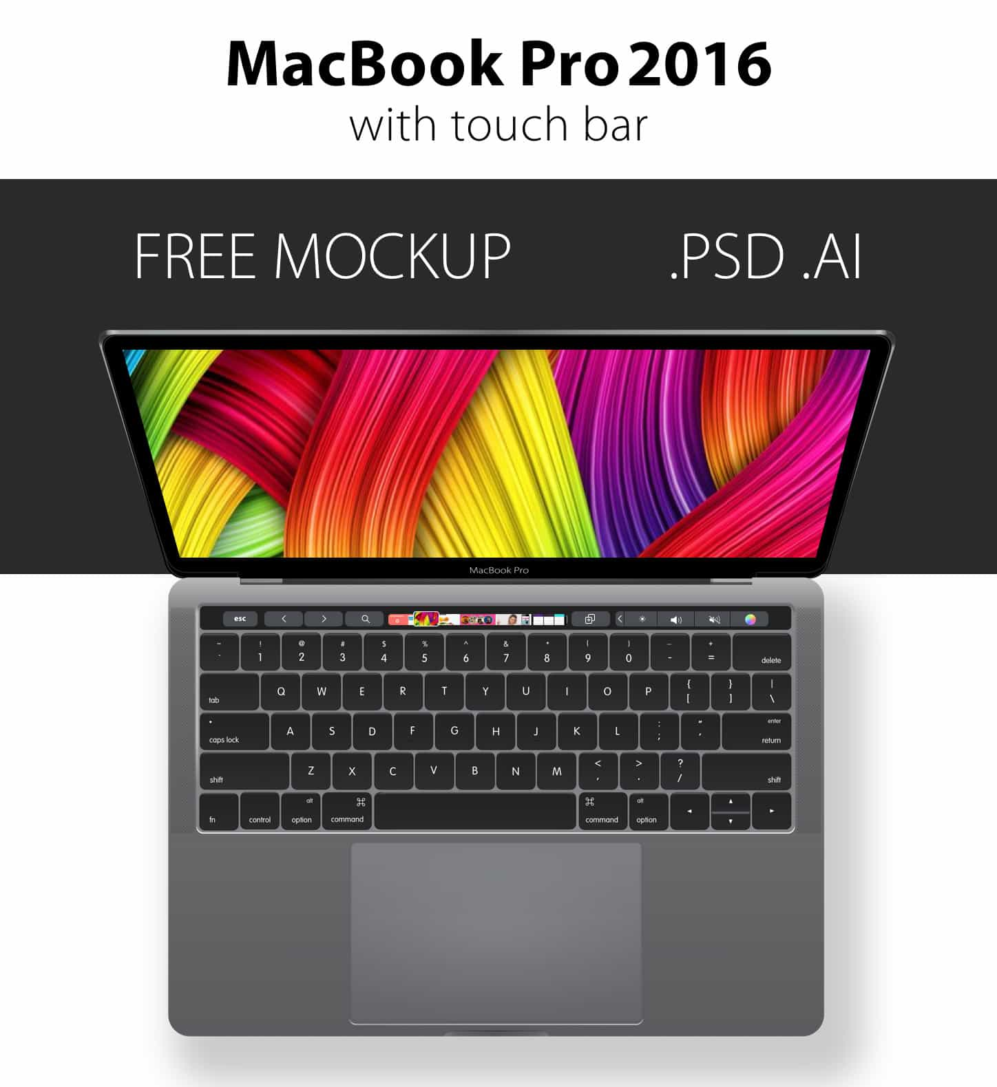 Free PSD & AI MacBook Pro 2016 (With Touchbar) Mockup