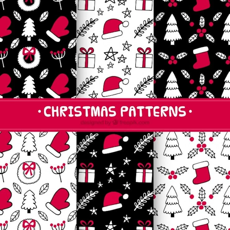 hand-drawn-christmas-patterns-in-red-and-black_23-2147718772