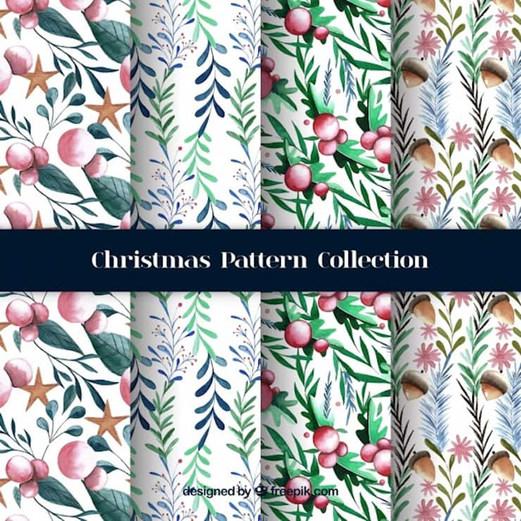 watercolor-christmas-patterns-with-natural-elements_23-2147708270