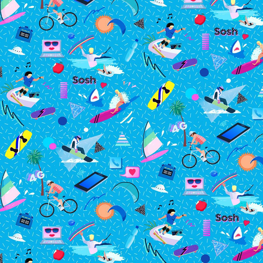 Yoko honda creates incredible 80 39 s inspired patterns for 90s wallpaper home