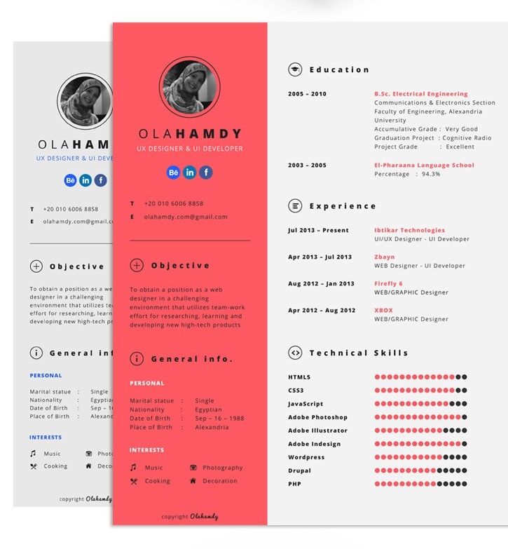 Free Clean Interactive Resume by Ola Hamdy