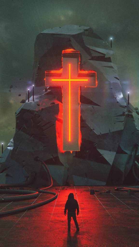 Futuristic Cross iPhone Wallpaper