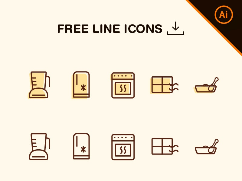 Free Vector Line Kitchen Icons