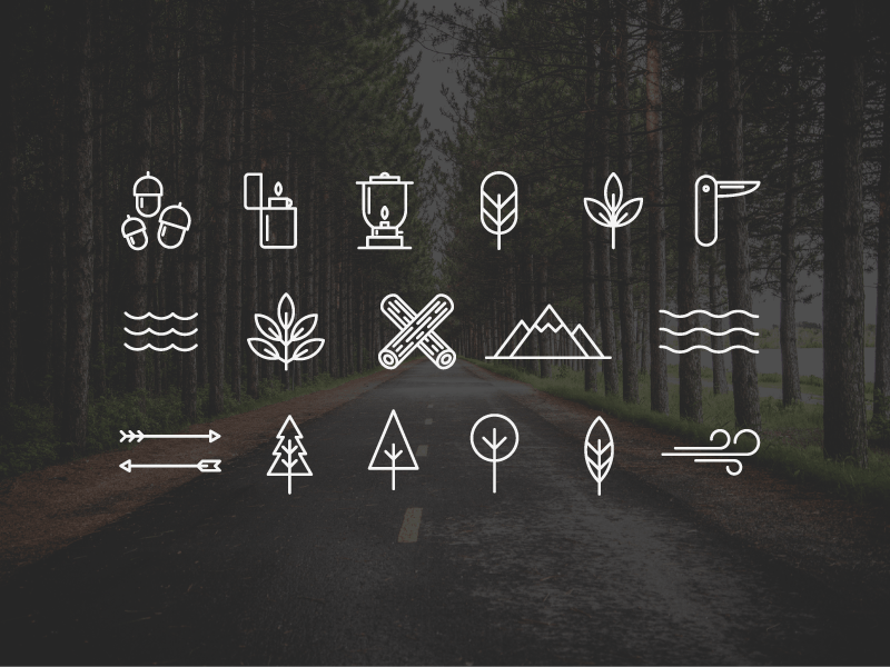 Free Wilderness Camping Vector Icons