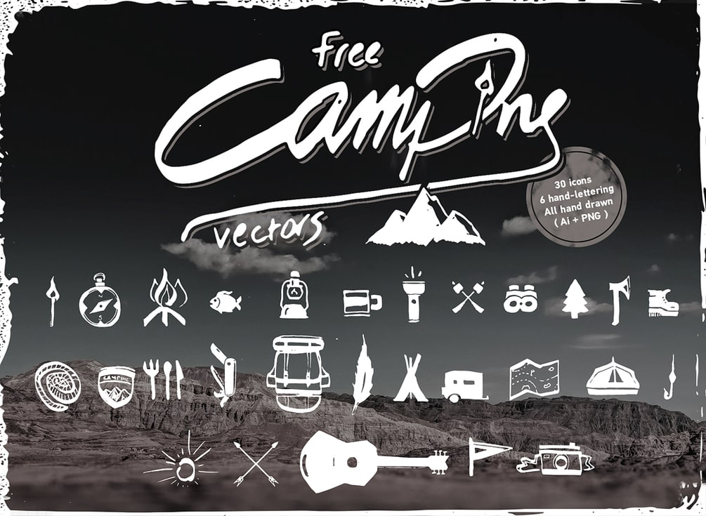 Free hand-drawn Camping Vector Icons
