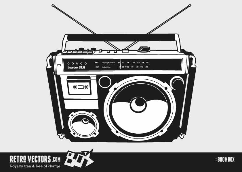 Free 1980s Boombox Vector