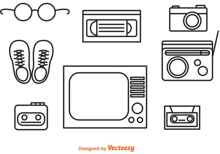 Free 1980s Flat Line Vector Icons