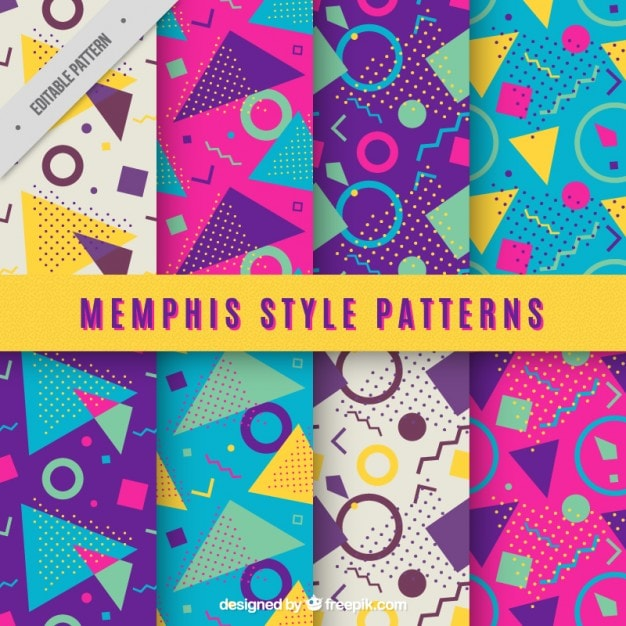 Free 1980s Memphis Style Vector Patterns