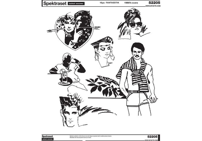 Free 1980s Tropical People Vectors