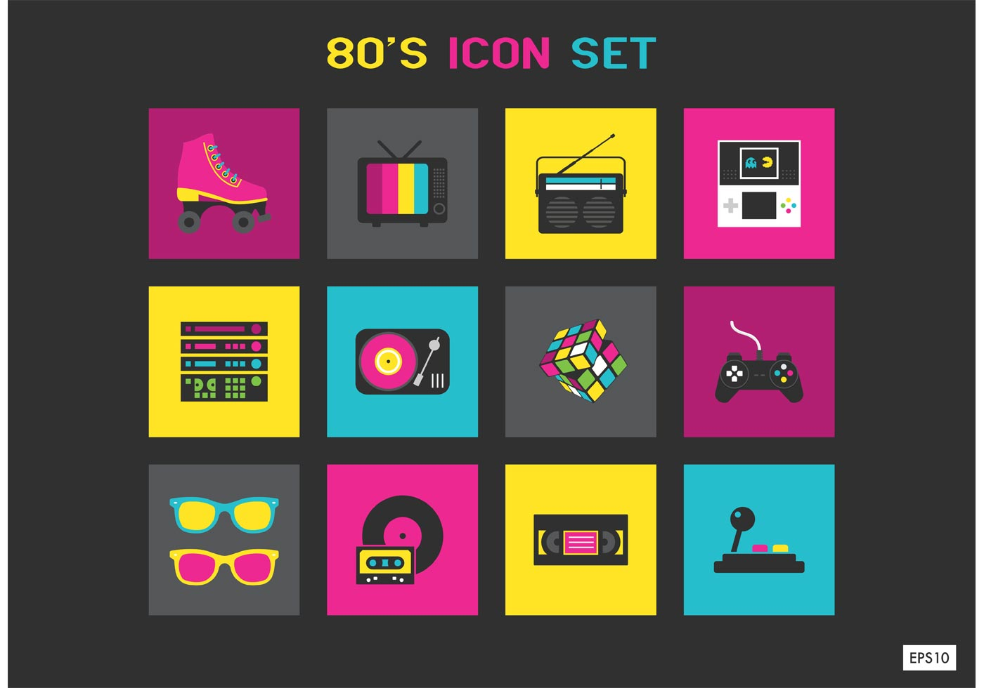 Free 1980s Vector Icon Set