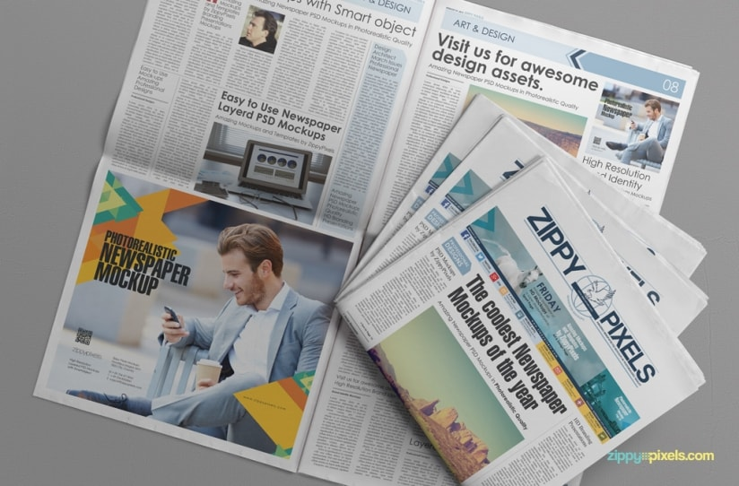 Free Photorealistic Newspaper Ad PSD Template