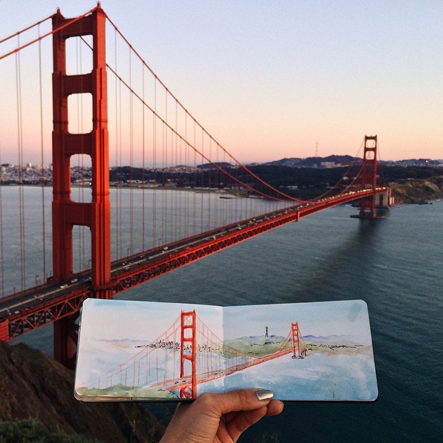 Golden Gate Bridge Watercolour by Hannah Jesus