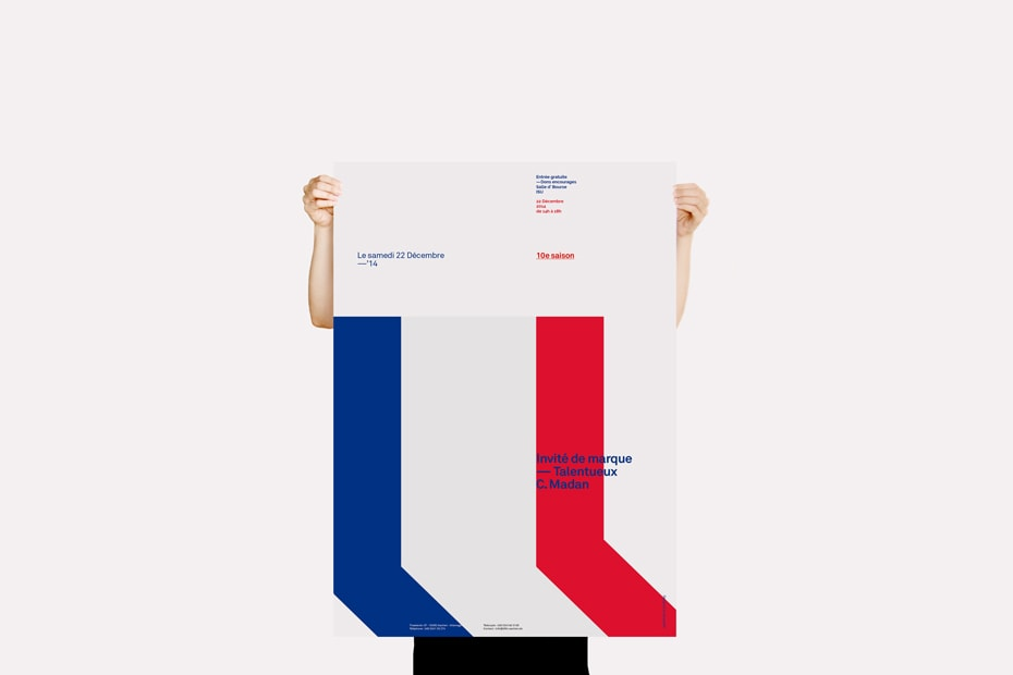 Red, White and Blue Swiss Style Poster Design