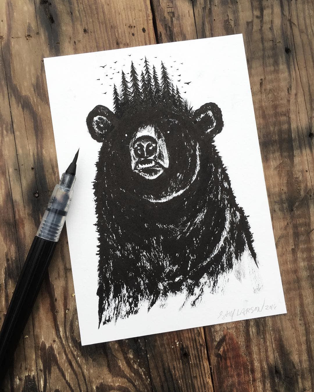 Scribbly Bear Ink Illustration by Sam Larson