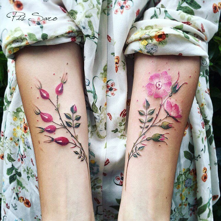 Pink Floral Tattoo by Pis Saro