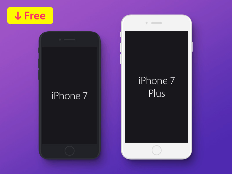 Free iPhone 7 & iPhone 7 Plus PSD Mockup