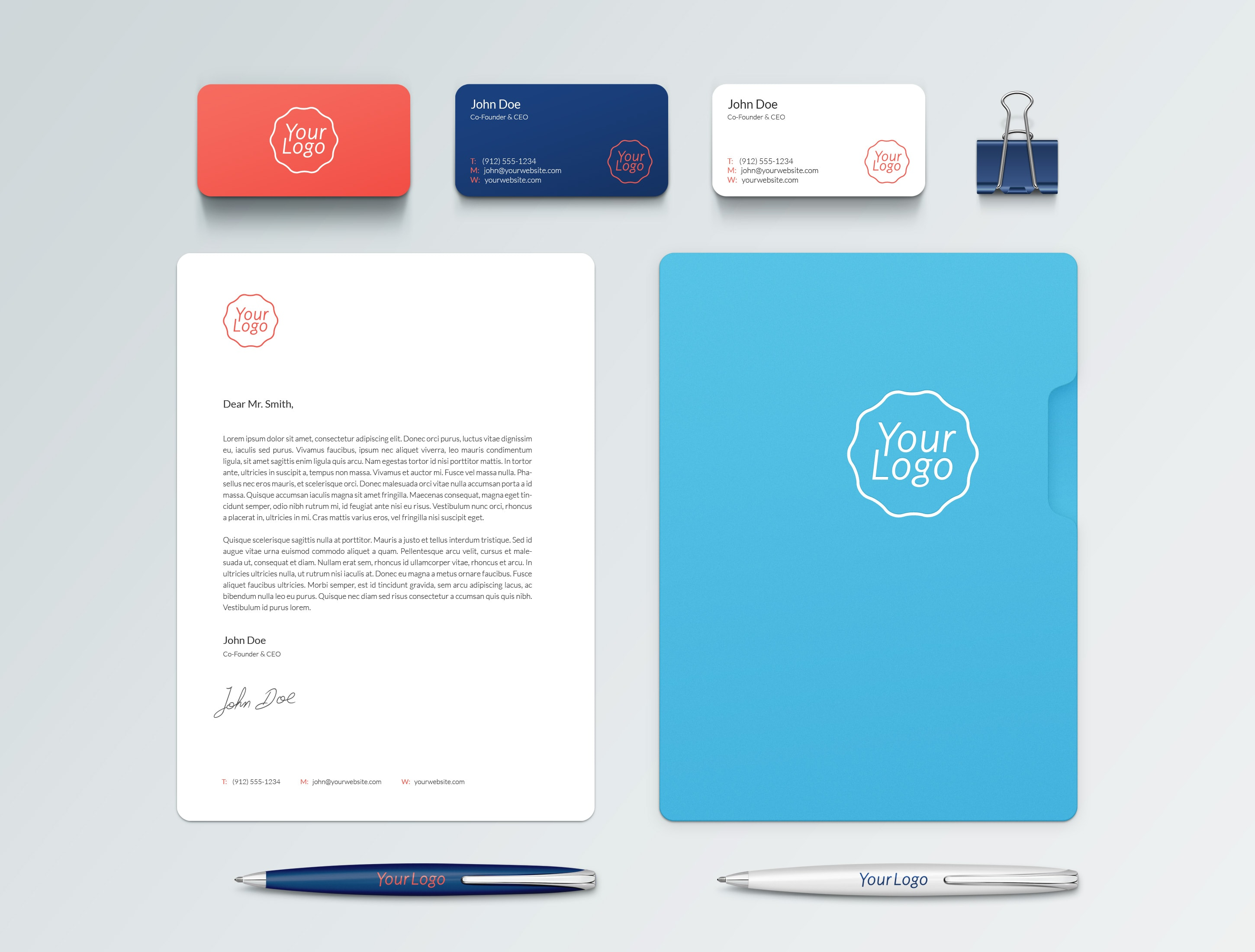 Free Business Card and A4 PSD Mockup