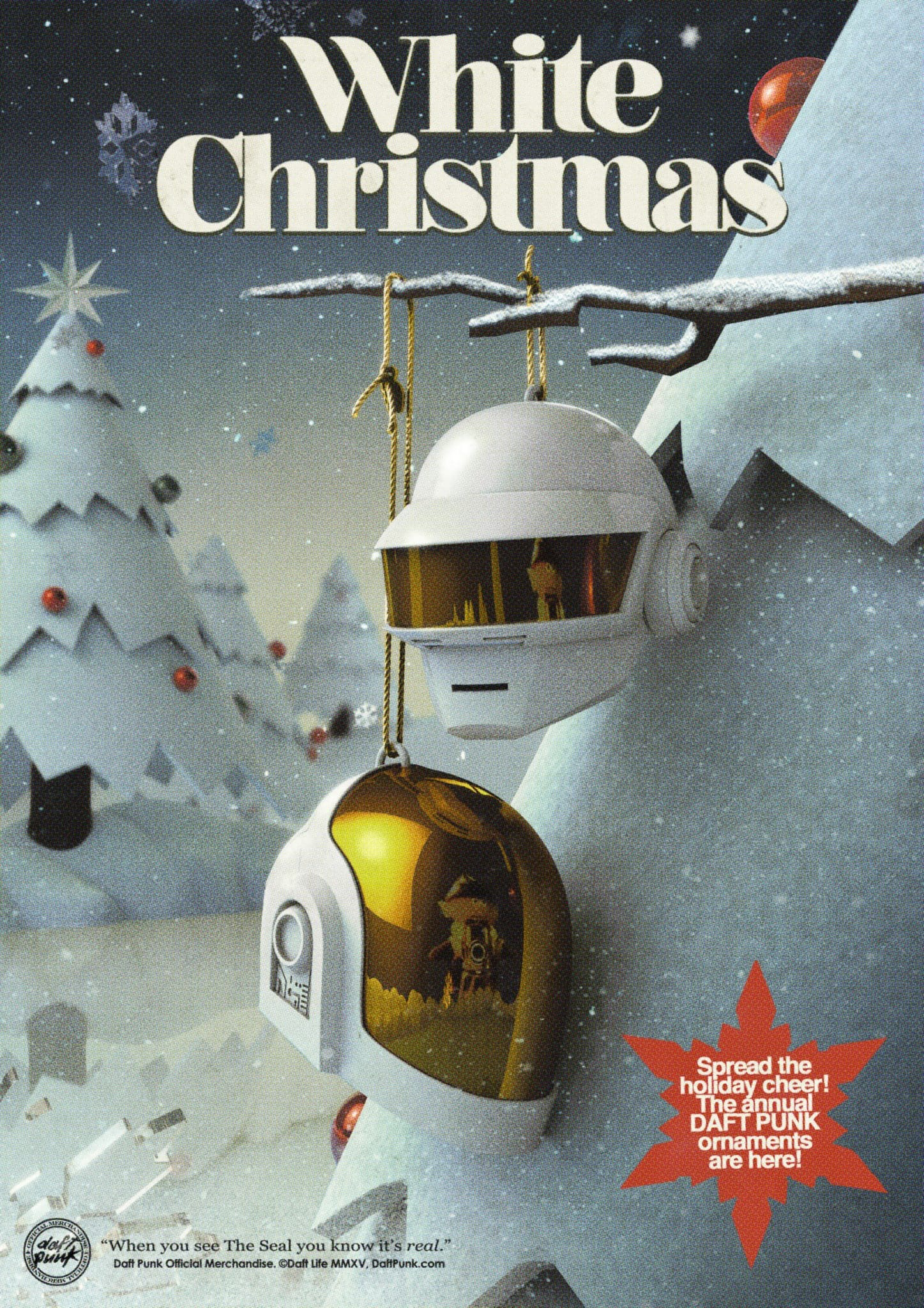Daft Punk White Christmas Poster