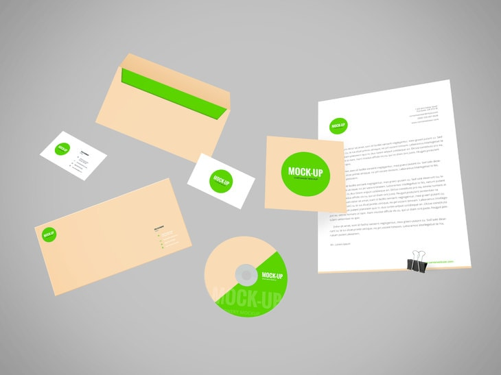 Free Flying Stationery PSD Mockup