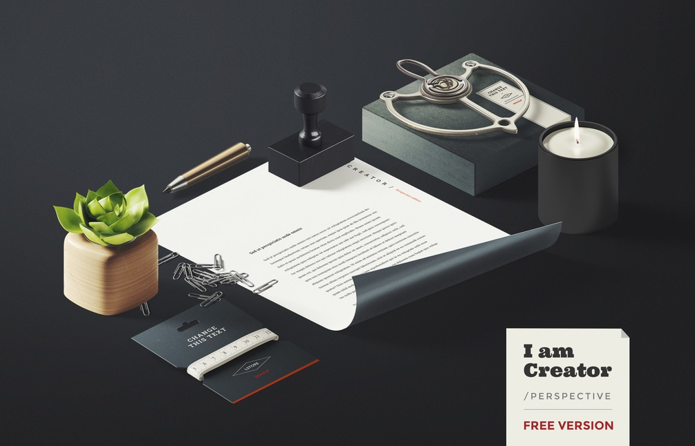 Free I Am Creator - Branding Perspective PSD Mockup
