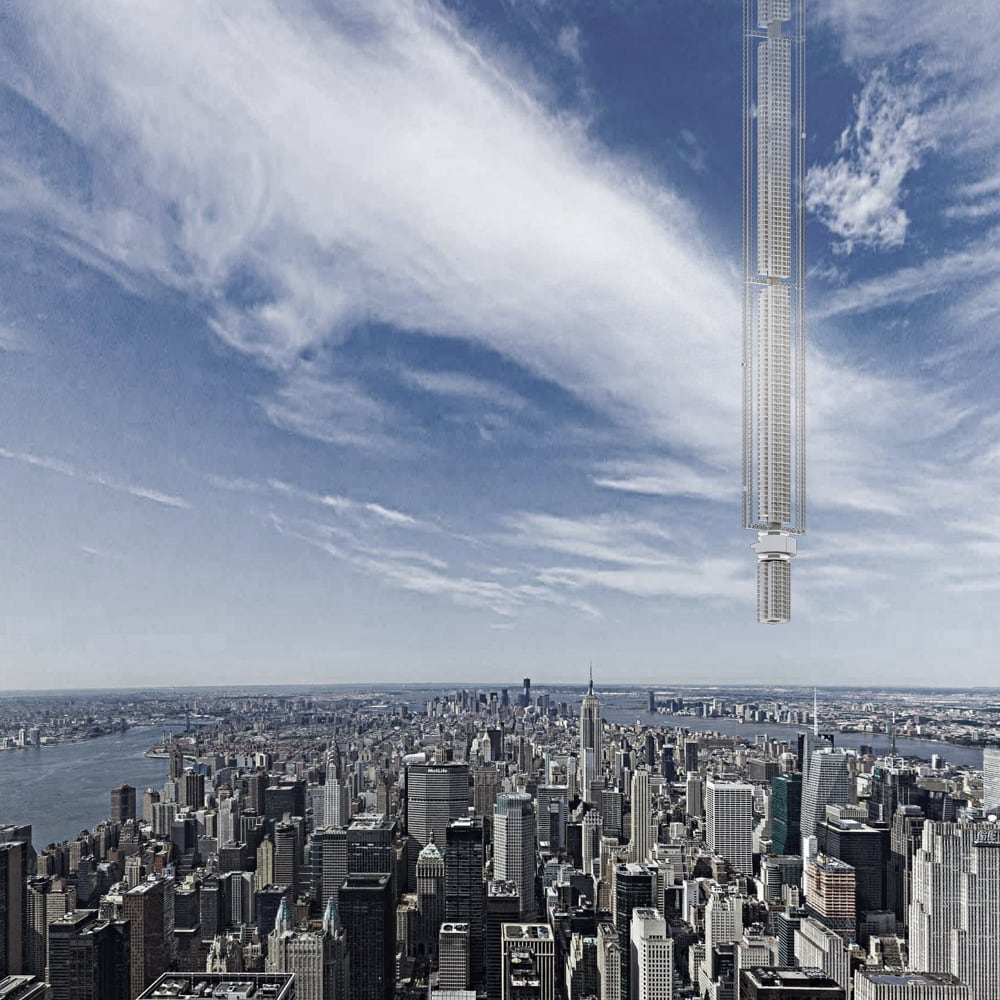 Image of Analemma Tower over New York City