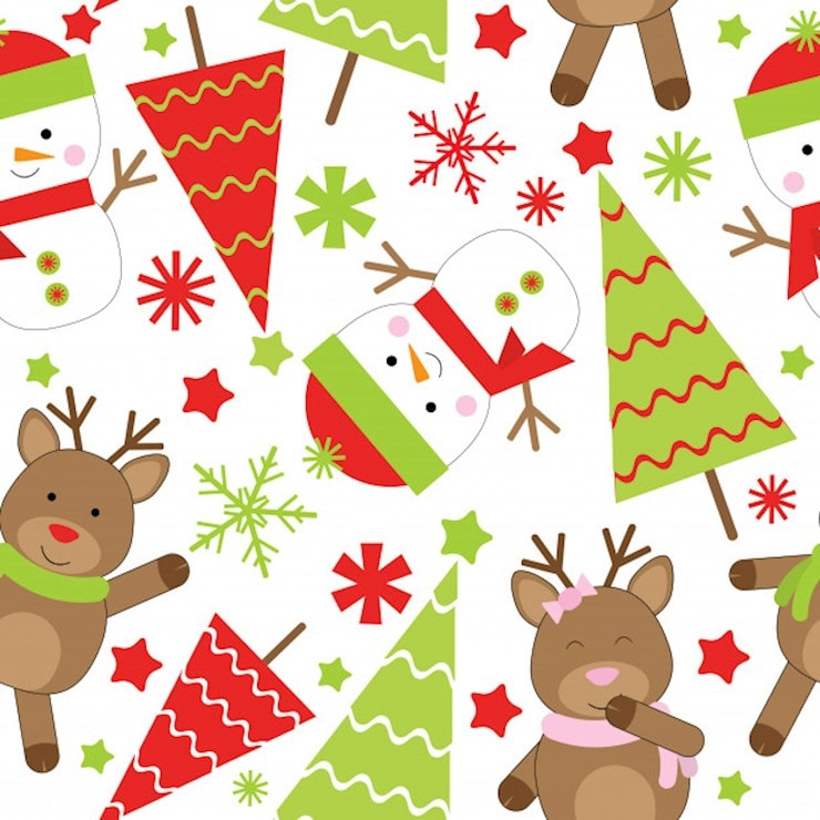 christmas seamless pattern of cute snowman and xmas tree