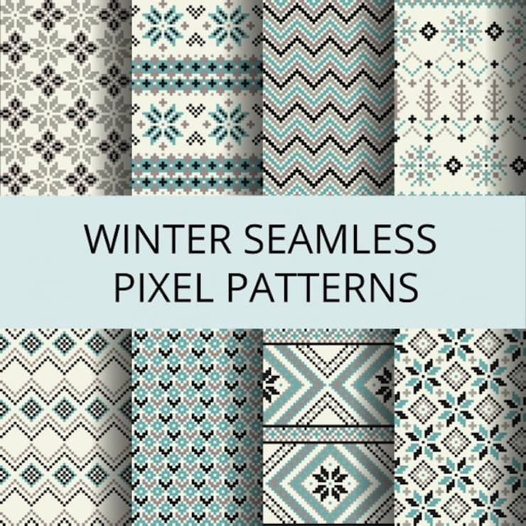eight patterns for winter made with pixels