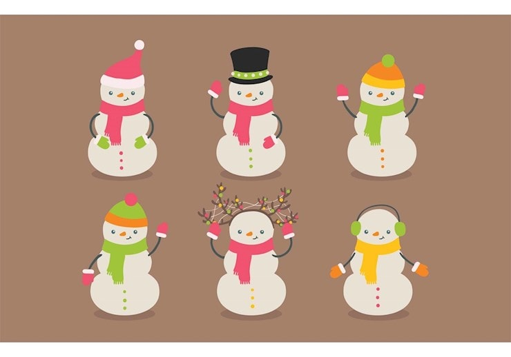Christmas icons with snowman