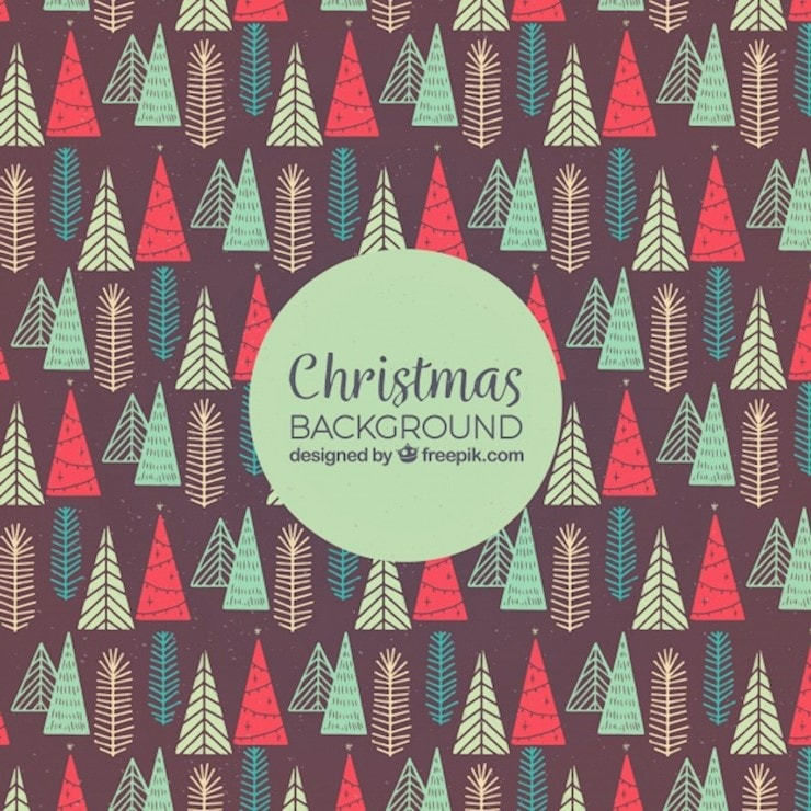 hand drawn background with christmas trees pattern 23 2147725678