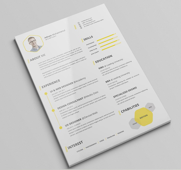 Premium CV Resume PSD Template with Cover Letter