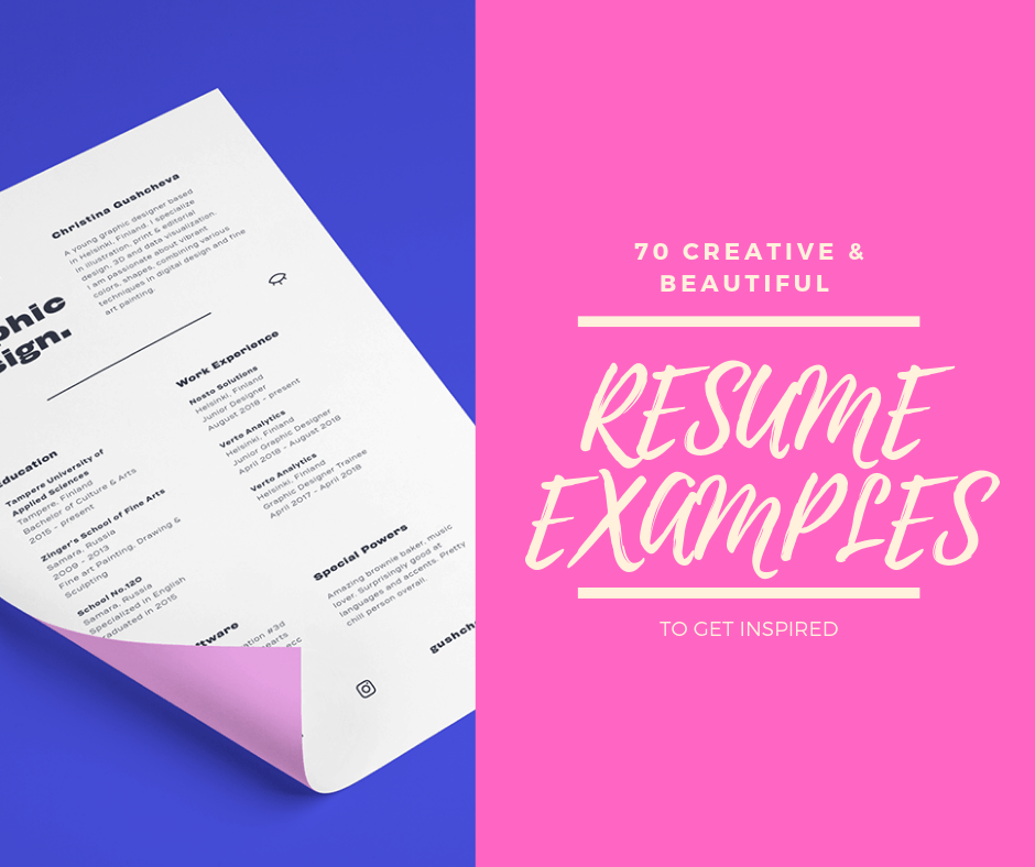 70 Creative & Beautiful resumes cover