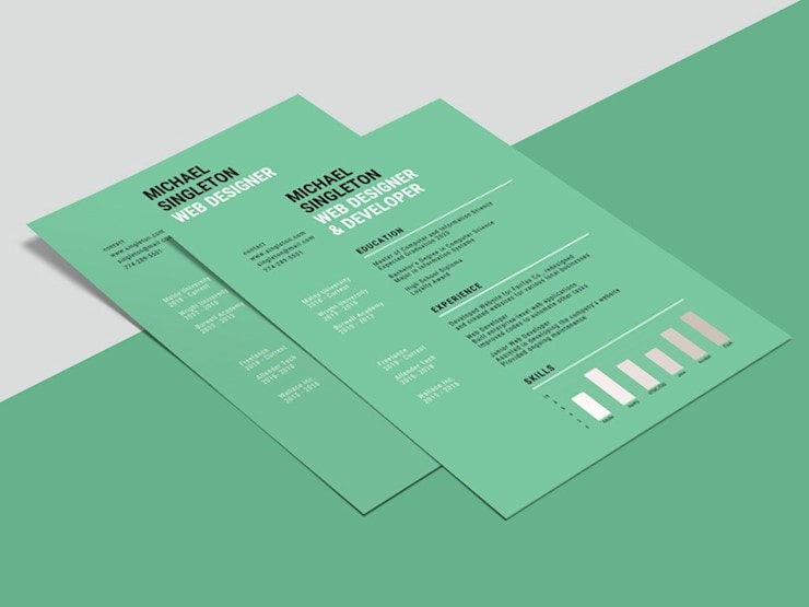 free-green-background-resume-template