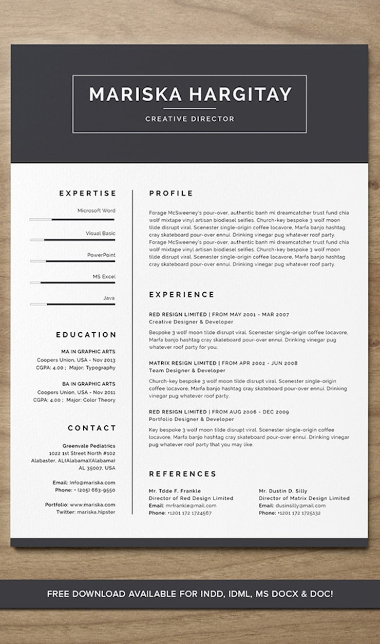 high-end-free-resume-cv-for-word
